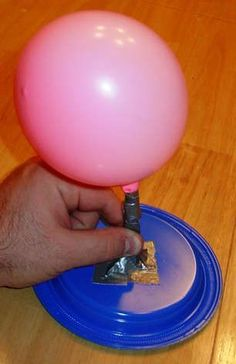 The balloon hovercraft ready for launch...lots of science experiments to try with the kids