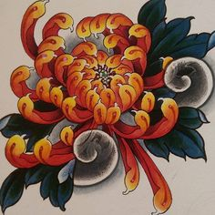 Tattoo Japanese Style, Japanese Flower Tattoo, Japanese Flowers, Flower Tattoo Designs, Flower Tattoos, Aurora Tattoo, Japan Flower, Skin Drawing, Chrysanthemum Tattoo