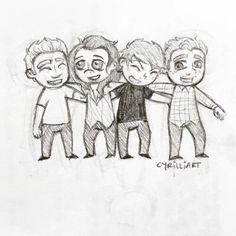 1D pencil sketch, how cute ♥