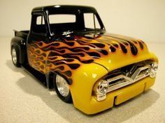 Just finished a new Flame job on a Ford - Scale Auto Magazine - For building plastic & resin scale model cars, trucks, motorcycles, & dioramas Old Dodge Trucks, Ford Pickup Trucks, 4x4 Trucks, Diesel Trucks, Lifted Trucks, Ford Classic Cars, Classic Chevy Trucks, Hot Rod Trucks, Cool Trucks