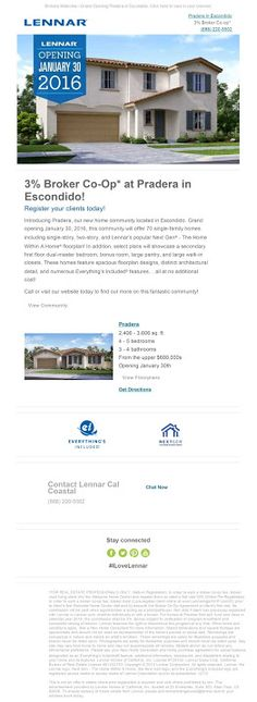 Brokers Welcome! New Homes for Sale in Escondido, San Diego. Grand Opening January 30, 2016. 3% Broker Co-op – New Homes In Escondido GO Jan 30th! http://www.lennar.com/…/califor…/san-diego/escondido/pradera