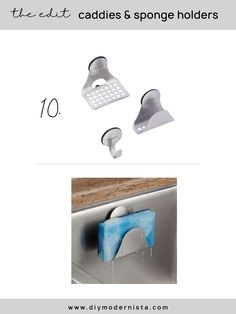 This pretty-looking set is on heavy sale right now on Amazon (it was $100 when I researched this article 2 weeks ago…), so grab it while it lasts – I will! It comes with three different holders: two sponge holders, and a towel holder at an excellent price. #kitchenorganization #magneticspongeholder #modernkitchen #kitchensinkorganizer