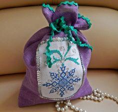 Christmas Gift Bag  Christmas Santa Sack Linen Burlap Sack Christmas Ornament Holiday Gift Bag Рurple bag