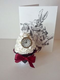 Alice In Wonderland Inspired White Rabbit Fake Cupcake Photo Prop, Birthday Party Favors, Room Decor and Displays