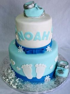 Boy cakes for baby showers | Baby Booties and Baby Feet Boy's Baby Shower Cake