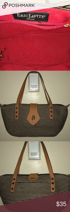 2457664862 Eric Javits straw leather bag Great Eric Javits straw and leather strap bag.  Inside is