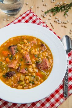 Ham and bean soup This is SO good! Lots of delicious broth. Boiled the beans 2min and let sit 1hour instead of soaking overnight.