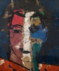 Retrato sobre fondo azulRetrato sobre fondo azul, 2015 oil on burlap 80 x 60 inches