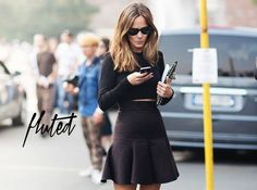 Fluted skirts and long sleeve crop top
