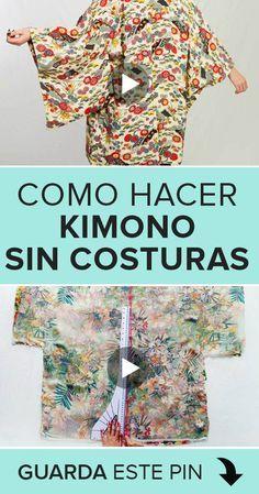 Kimono Dress, Kimono Jacket, Recycled Shirts, Kimono Pattern, Altered Couture, Kimono Fashion, Diy Clothes, Costura Diy, Sewing Patterns