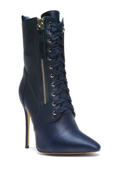 5043b35a4dc7 HerStyle Kylinna Zip Detail Lace Up stiletto Ankle Boot in Satin (Navy)