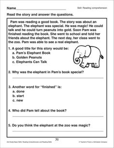 Worksheet Reading Comprehension For Grade 1 With Questions daily reading comprehension grade 1 home schooling pinterest pams elephant book passage and questions 2nd skills