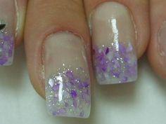 French Manicure Purple Pieces Art Nails