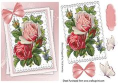 Vintage roses on lace with bow on Craftsuprint - Add To Basket!