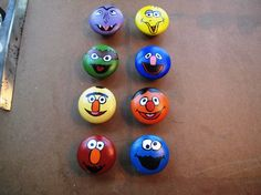 Sesame Street Dresser Knobs by HawkesHollow on Etsy Stone Crafts, Rock Crafts, Arts And Crafts, Diy Crafts, Painted Pumpkins, Painted Rocks, Hand Painted, Disney Baby Toys, Mouse Paint