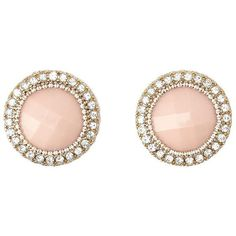 Charlotte Russe Rhinestone-Trimmed Faceted Stone Earrings ($6) ❤ liked on Polyvore featuring jewelry, earrings, accessories, lt pink, rhinestone earrings, circle jewelry, pink rhinestone earrings, beaded jewelry and rhinestone stud earrings