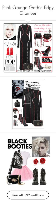 """""""Punk Grunge Gothic Edgy Glamour"""" by yours-styling-best-friend ❤ liked on Polyvore featuring black, grunge, edgy, gothic, Alexander McQueen, Børn, The Artwork Factory, John Varvatos, Kat Von D and Pamela Love"""
