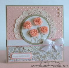 "SU Painted Petals - stems, Teeny Tiny Wishes or other sentiment, Something Borrowed DSP - sub I Love Lace BG, Sahara Sand and Pink Pirouette with Blushing Bride for the accent, Paper Doily, Floral trim    *5 1/4"" square card (Apr 16, 2015)"