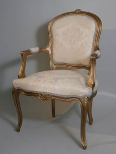 Louis XV giltwood open elbow chair, pale cream damask upholstery, 100cm high x 64 cm wide. **X10 available to hire** (Stock code;- CHAC10054) We also have x12 Louis XV giltwood single chair pale cream damask upholstery, 93cm high x 52cm wide (Stock code;- CHAC10055) www.farley.co.uk