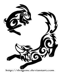 Rabbit and Wolf tattoo by dragonC.deviantart.com on @DeviantArt