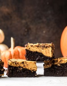 These pumpkin brownies have a fudgy layer of chocolate on the bottom and a silky layer of pumpkin on top! They are so delicious and rich and perfect for fall. The pumpkin brownies come together easily and can be made ahead of time too! Brownie Recipes, Snack Recipes, Dessert Recipes, Desserts, Pumpkin Brownies, Fudge Brownies, Pumpkin Recipes, Fall Recipes, How Sweet Eats