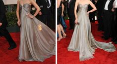 Ana's silver silk strapless dress to the mascarade (from Neiman Marcus)