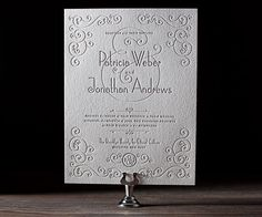 Delicate swirls and soft muted colors create sweet and simple letterpress wedding invitations with Weber from Jessica Hische.