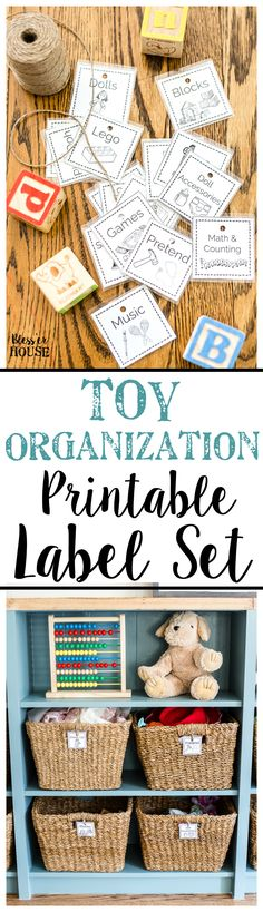 A free printable set of toy organization labels for bins with pictures and legible font to make clean up easier for pre-reading children. #playroom #toyorganization #organizing #toyorganizing #freeprintables #labels