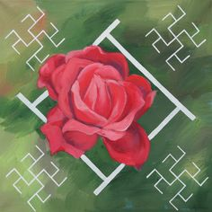 Traditional Latvian folk symbols with a red rose on natural green. Acrylic on canvas, 40x40cm.