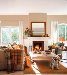 Ways to Decorate a Living Room Corner Behind a Couch or Loveseat Fall Living Room, Cozy Living Rooms, Living Room Decor, Colourful Living Room, Living Room Colors, Living Room Designs, Autumn Room, Autumn Fall, Autumn Interior