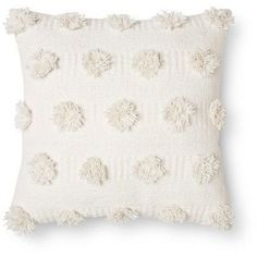"Nate Berkus Cream Pom Dot Square Throw Pillow (18""x18"") - Nate Berkus"