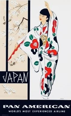 Vintage travel poster - Japan via Pan Am Party Vintage, Pub Vintage, Tourism Poster, Poster Ads, Japan Kultur, Japanese Travel, Japanese Geisha, Travel Ads, Japanese Poster