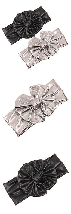Baby Girls Bronzing Gilding Headband Floppy Metallic Messy Big Bows HeadWrap JA61 (Black+Silver)