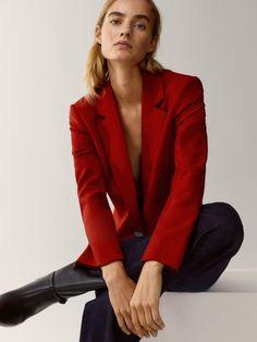 Wool flannel blazer - Women - Massimo Dutti Blazer Outfits Casual, Open Back Maxi Dress, Black Tankini, Tee Dress, Dress Shoes, Shoes Heels, Black Bodycon Dress, Blazers For Women, Flannel