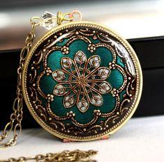 Locket, Bridal Necklace. Something blue Necklace. Wedding Necklace. Picture locket. Vintage locket. Flower locket. Bridal Registry. $84.50, via Etsy.