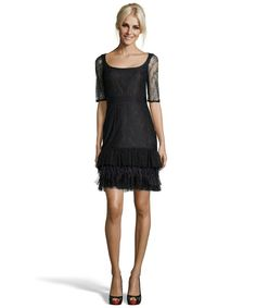 Marchesa Notte black lace and feather ruffle cocktail dress
