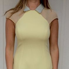 Charlotte Ronson dress Adorable A-line dress in light yellow • Peter Pan collar in sea foam green • cap sleeves • fully lined • zipper closure in the back Charlotte Ronson Dresses
