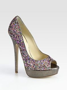 Jimmy Choo Vibe Glitter-Coated Leather Peep Toe Pumps, $795. Even if I could afford it, I wouldn't pay $800  for shoes but how friggin cute are these?