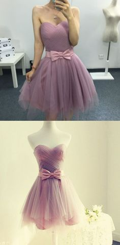Homecoming Dress with Bow, Light Purple Homecoming Dress,Short Homecoming Dress,Sweetheart Homecoming Dress,Strapless Homecoming Dress,Lilac Homecoming Dress,Pleat,Homecoming