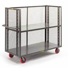 """LITTLE GIANT 3-Sided Adjustable-Shelf Stock Trucks by Little Giant. $584.00. Adjustable shelf can be positioned to handle large loads during one delivery and small loads the next time. Moves boxes, mail bags, and other bulky loads efficiently on this LITTLE GIANT 3-Sided Adjustable-Shelf Stock Truck. 12-gauge shelf can be placed with lips up or down and adjusts every 31/2"""". 48""""H expanded metal sides promote visibility and air flow. Non-marking 6"""" polyurethane cas..."""