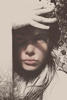 Untitled VII by cyzeal on DeviantArt Figure Painting, Painting & Drawing, Illustrations, Illustration Art, Silkscreen, Native American Beauty, Portraits, Art For Art Sake, Medium Art