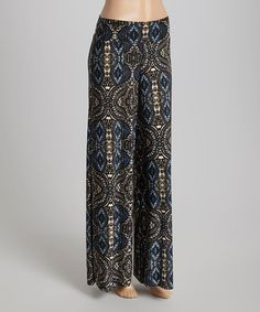 Loving this Blue & Black Arabesque Palazzo Pants on #zulily! #zulilyfinds