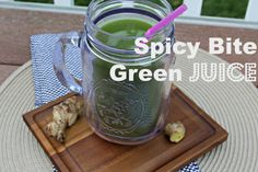 Spicy Bite Green Juice Recipe - delicious juice just right and spicy.  #greenjuice #williamsonoma #chlorophyll