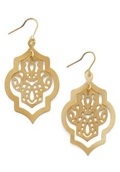 Om My Darling Earrings. Add an extra dash of radiance to your post-yoga glow with these delicately tiered danglers. #gold #prom #modcloth