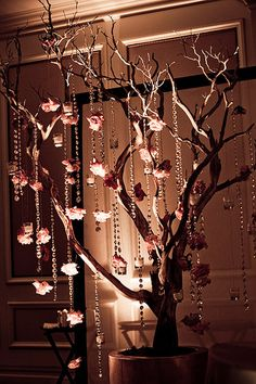 Wedding Decor - Tree Crystal | Flickr - Photo Sharing! using crystals can glam up any wedding. also used in this combination would be excellant for a forest theme wedding, fairytale, etc. you can hang all sorts of things from them add lights for a beautiful setting.