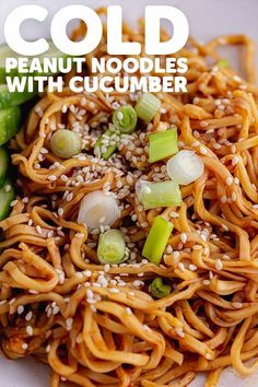 These easy vegan cold peanut noodles make the most delicious summer lunch or dinner. Serve topped with cucumber slices for a refreshing meal. Healthy Crockpot Recipes, Beef Recipes, Whole Food Recipes, Vegetarian Recipes, Delicious Recipes, Dinner Recipes Easy Quick, Quick Easy Meals, Summer Recipes, Recipes Dinner