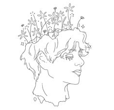 Outline Art, Outline Drawings, Art Drawings Sketches Simple, Bts Drawings, Tattoo Outline Drawing, Bts Tattoos, Small Canvas Art, Embroidery Art, Aesthetic Art