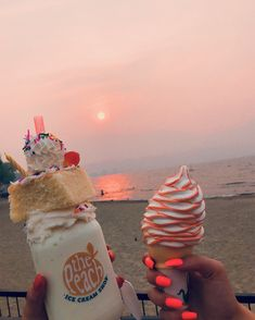 Beautiful sky and ice cream and a cup of milkshake? Cute Food, Good Food, Yummy Food, Cute Desserts, Food Goals, Aesthetic Food, Summer Aesthetic, Pink Aesthetic, Food Cravings