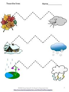 This worksheet helps a child build there fine motor skills as well as there cognitive skills learning what seasons are as well as the time frame and weather that appears in both. Preschool Weather, Weather Crafts, Preschool Centers, Free Preschool, Preschool Worksheets, Preschool Kindergarten, Preschool Activities, Preschool Schedule, Tracing Worksheets