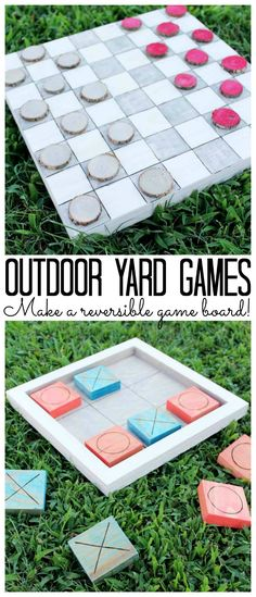Outdoor Lawn Games Checkers and Tic Tac Toe Board is part of Kids Crafts Outdoors Tic Tac - Try these outdoor yard games with your kids! Make a reversible checker and tic tac toe board that is perfect for playing on the lawn Outdoor Checkers, Outdoor Yard Games, Outdoor Games For Kids, Backyard Games, Party Outdoor, Outdoor Toys, Outdoor Play, Outdoor Activities, Homemade Outdoor Games